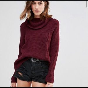 Free people sidewinder cowl neck berry sweater S